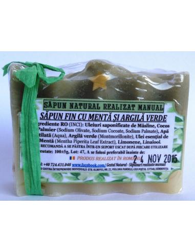 Sapun fin cu menta si argila verde 100 g - Gestul Natural